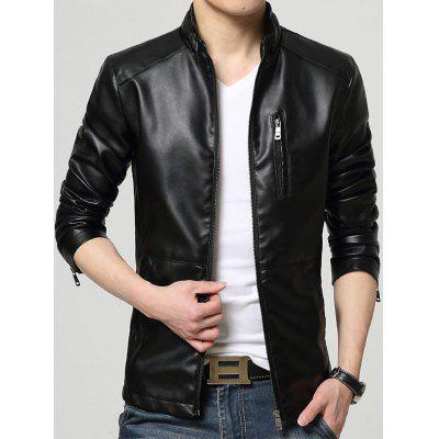 Zip Up Casual Faux Leather Jacket