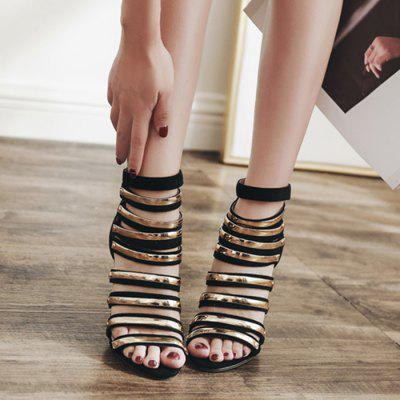 Back Zipper Strappy Gladiator SandalsWomens Sandals<br>Back Zipper Strappy Gladiator Sandals<br><br>Closure Type: Zip<br>Gender: For Women<br>Heel Height: 9.5CM<br>Heel Height Range: High(3-3.99)<br>Heel Type: Stiletto Heel<br>Occasion: Party<br>Package Contents: 1 x Sandals (pair)<br>Pattern Type: Patchwork<br>Sandals Style: Gladiator<br>Shoe Width: Medium(B/M)<br>Style: Fashion<br>Upper Material: Suede<br>Weight: 1.5000kg