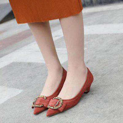 Buckled Pointed Toe PumpsWomens Pumps<br>Buckled Pointed Toe Pumps<br><br>Embellishment: Buckle<br>Heel Height: 4CM<br>Heel Height Range: Low(0.75-1.5)<br>Heel Type: Kitten Heel<br>Occasion: Casual<br>Package Contents: 1 x Pumps (pair)<br>Pumps Type: Basic<br>Season: Summer<br>Shoe Width: Medium(B/M)<br>Toe Shape: Pointed Toe<br>Toe Style: Closed Toe<br>Upper Material: Suede<br>Weight: 1.2000kg