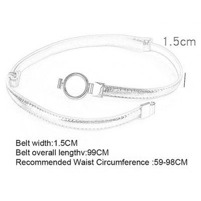 Simple Metal Round Buckle Embellished Skinny BeltBelts<br>Simple Metal Round Buckle Embellished Skinny Belt<br><br>Belt Length: 99CM<br>Belt Material: Faux Leather<br>Belt Silhouette: Skinny Belt<br>Belt Width: 1.5CM<br>Gender: For Women<br>Group: Adult<br>Package Contents: 1 x Belt<br>Pattern Type: Others<br>Style: Fashion<br>Weight: 0.0780kg
