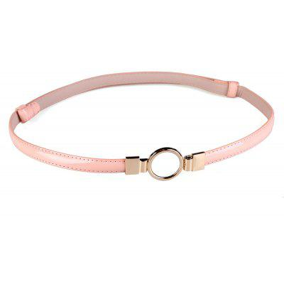 Simple Metal Round Buckle Embellished Skinny Belt
