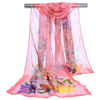 Simple Flying Butterflies Pattern Chiffon Silky Scarf