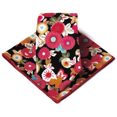 Floral Pattern Decorated Silky Necktie Handkerchief Set
