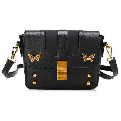 Flapped Studded Butterfly Crossbody Bag