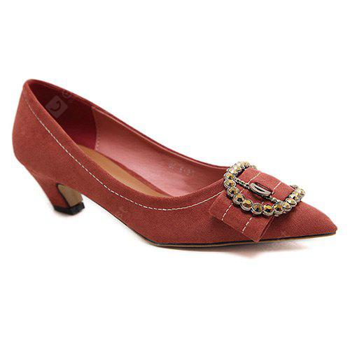Buckled Pointed Toe Pumps