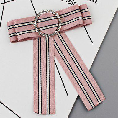 Striped Bowknot Faux Crystal Shirt Tie Brooch