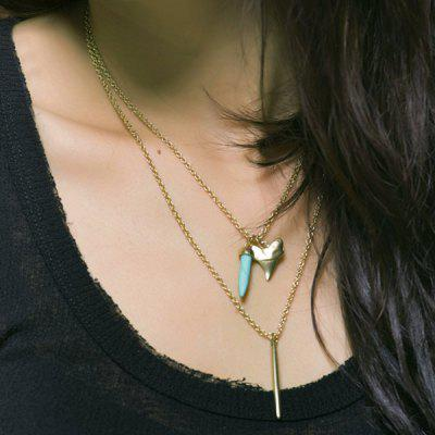 Double Layer Faux Turquoise Metal Stick Pendant NecklaceNecklaces &amp; Pendants<br>Double Layer Faux Turquoise Metal Stick Pendant Necklace<br><br>Gender: For Women<br>Item Type: Pendant Necklace<br>Metal Type: Alloy<br>Package Contents: 1 x Necklace<br>Shape/Pattern: Others<br>Style: Trendy<br>Weight: 0.1180kg