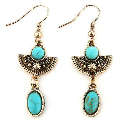 Vintage Fanshaped Faux Turquoise Drop Earrings