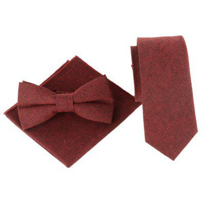 Solid Color Pattern Necktie Bow Tie Handkerchief Set