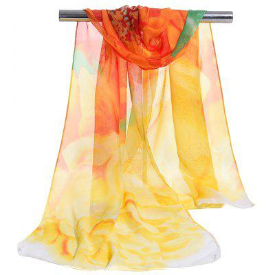 Simple Floral Pattern Nice Touching Silky Chiffon Scarf