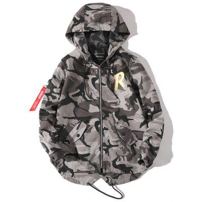 Graphic Camo Print Hooded Jacket