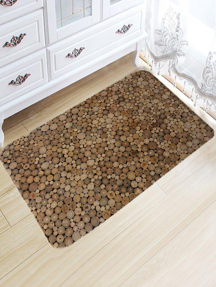 Vintage Wood Print Flannel Nonslip Bath Rug