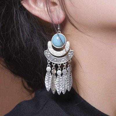 Vintage Boho Faux Turquoise Leaves Fringed Drop Earrings