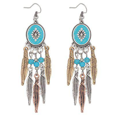 Bohemia Artificial Turquoise Feather Alloy Drop Earrings