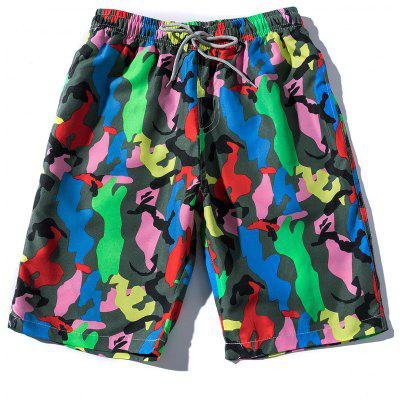 Drawstring Colorful Camouflage Print Beach Shorts