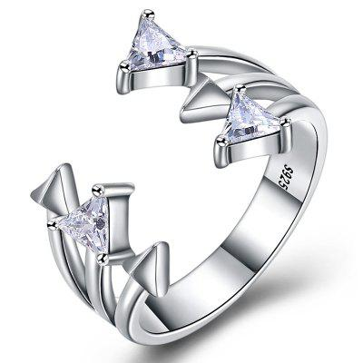 Artificial Zircon Inlaid Silver Open Ring