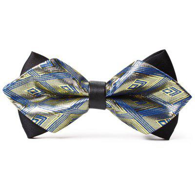Unique Rhombus Pattern Embellished Shimmer Bow Tie