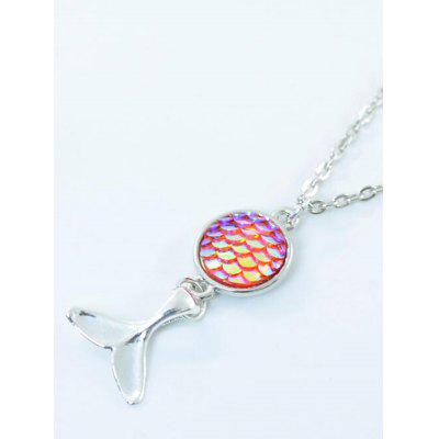 Round Mermaid Scales Tail Pendant Necklace