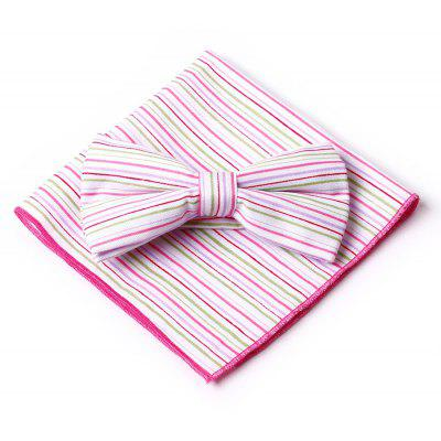 Simple Striped Pattern Embellished Bow Tie Handkerchief Set