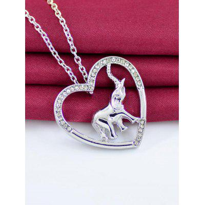 Rhinestone Alloy Heart Elephant Pendant Necklace