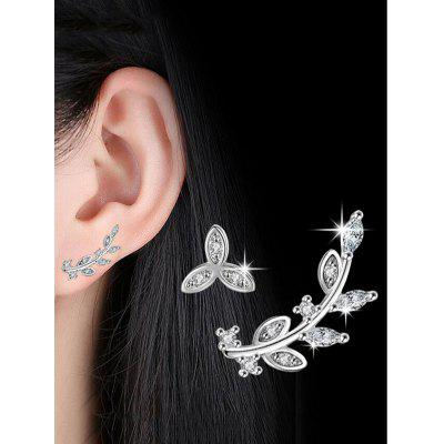 Rhinestone Alloy Asymmetric Leaf Stud Earrings