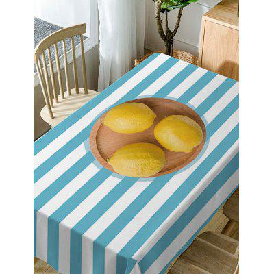 Lemon On Stripe Print Fabric Waterproof Table ClothTable Accessories<br>Lemon On Stripe Print Fabric Waterproof Table Cloth<br><br>Material: Polyester<br>Package Contents: 1 x Table Cloth<br>Pattern Type: Fruit, Striped<br>Type: Table Cloth<br>Weight: 0.3750kg