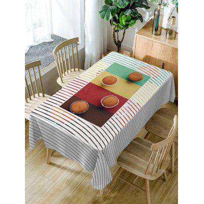 Cake Stripe Print Fabric Waterproof Table Cloth