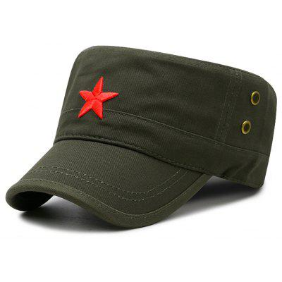 Unique Star Embroidery Breathable Flat Top Hat