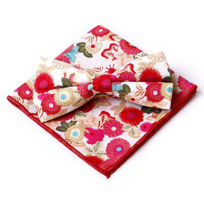 Buy RED Statement Floral Pattern Embellished Bow Tie Handkerchief Set for $4.21 in GearBest store