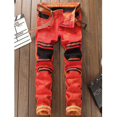 Color Block Accordion Pleat Biker JeansMens Pants<br>Color Block Accordion Pleat Biker Jeans<br><br>Closure Type: Zipper Fly<br>Fit Type: Regular<br>Material: Cotton, Spandex, Jean<br>Package Contents: 1 x Jeans<br>Pant Length: Long Pants<br>Pant Style: Straight<br>Wash: Bleach<br>Weight: 0.7500kg<br>With Belt: No