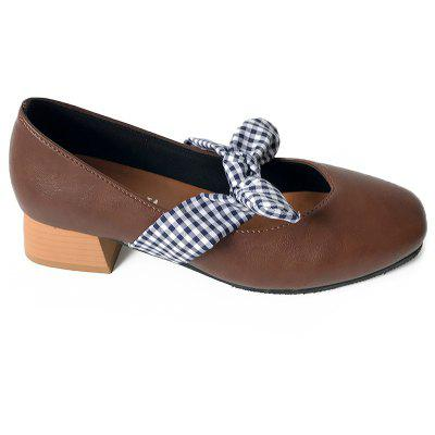Plaid Bow Block Heel Pumps