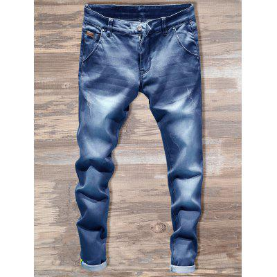 Buy LIGHT BLUE 34 Slim Fit Zipper Fly Straight Jeans for $36.32 in GearBest store