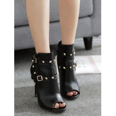 Studded Buckle Strap Peep Toe BootsWomens Boots<br>Studded Buckle Strap Peep Toe Boots<br><br>Boot Height: Ankle<br>Boot Type: Fashion Boots<br>Closure Type: Zip<br>Embellishment: Buckle<br>Gender: For Women<br>Heel Height: 11CM<br>Heel Height Range: Super High(Above4)<br>Heel Type: Stiletto Heel<br>Package Contents: 1 x Boots (pair)<br>Pattern Type: Solid<br>Season: Spring/Fall, Summer<br>Shoe Width: Medium(B/M)<br>Toe Shape: Peep Toe<br>Upper Material: PU<br>Weight: 1.5000kg