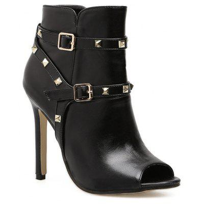 Studded Buckle Strap Peep Toe Boots