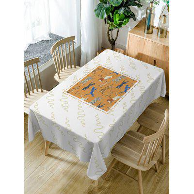Running Tiger and Lion Print Fabric Table Cloth