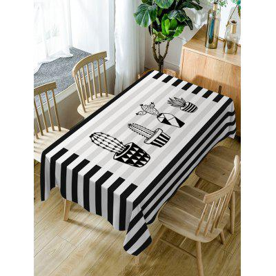 Waterproof Stripe Cactus Print Fabric Table Cloth