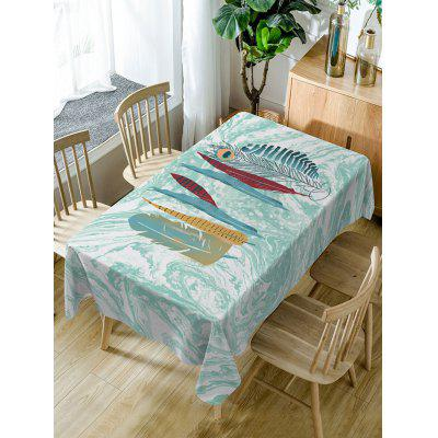 Feather and Marble Print Fabric Waterproof Table Cloth