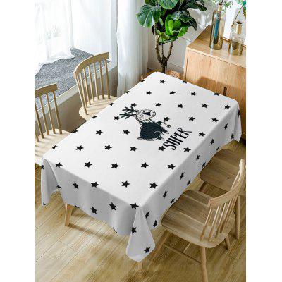 Deer and Stars Print Fabric Waterproof Table Cloth