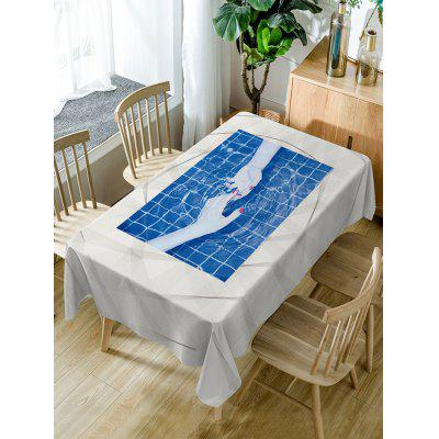 Hand In Hand Print Fabric Waterproof Table Cloth