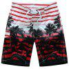 Coconut Printed Stripes Beach Shorts - RED