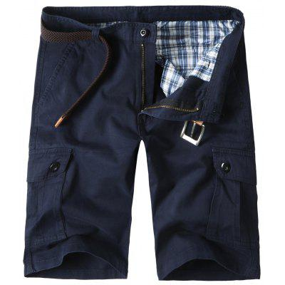 Flap Pockets Cotton Blend Cargo Shorts
