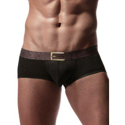 Faux Belt Print Elastic Waist Boxer Brief