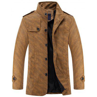 Epaulet Design Casual PU Leather Jacket