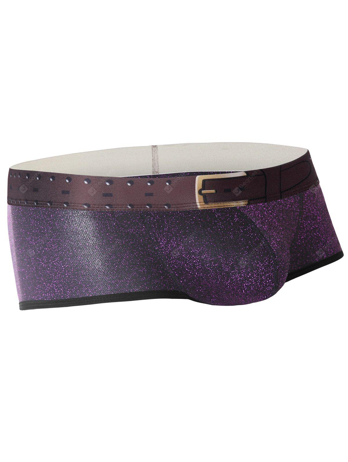 Faux Belt Print Twinkling U Convex Trunk