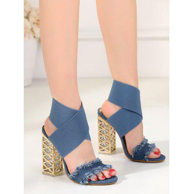 Metallic Block Heel SandalsWomens Sandals<br>Metallic Block Heel Sandals<br><br>Closure Type: Slip-On<br>Embellishment: Metal<br>Gender: For Women<br>Heel Height: 12CM<br>Heel Height Range: Super High(Above4)<br>Heel Type: Chunky Heel<br>Occasion: Party<br>Package Contents: 1 x Sandals (pair)<br>Pattern Type: Solid<br>Sandals Style: Cross-Strap<br>Shoe Width: Medium(B/M)<br>Style: Fashion<br>Upper Material: Denim<br>Weight: 1.5000kg