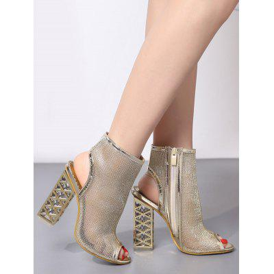 Peep Toe High Heel SandalsWomens Sandals<br>Peep Toe High Heel Sandals<br><br>Closure Type: Zip<br>Embellishment: Hollow Out<br>Gender: For Women<br>Heel Height: 12CM<br>Heel Height Range: Super High(Above4)<br>Heel Type: Chunky Heel<br>Occasion: Party<br>Package Contents: 1 x Sandals (pair)<br>Pattern Type: Others<br>Sandals Style: Gladiator<br>Shoe Width: Medium(B/M)<br>Style: Punk<br>Upper Material: PU<br>Weight: 1.5000kg