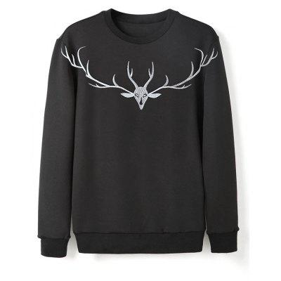 Crew Neck Deer Antler Embroidery Sweatshirt
