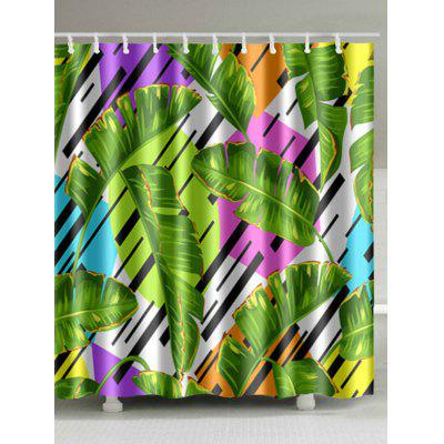 Banana Leaves Print Shower Curtain Bathroom Decor