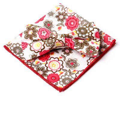 Buy RED Floral Pattern Embellished Bow Tie and Handkerchief for $7.25 in GearBest store