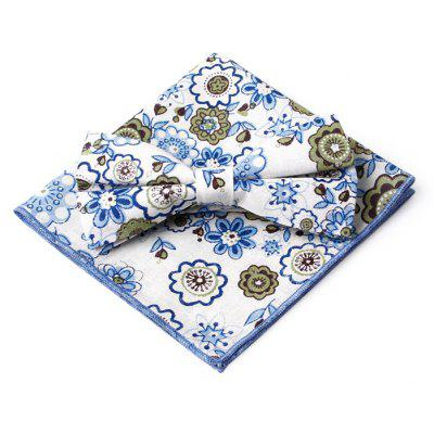Floral Pattern Embellished Bow Tie and Handkerchief